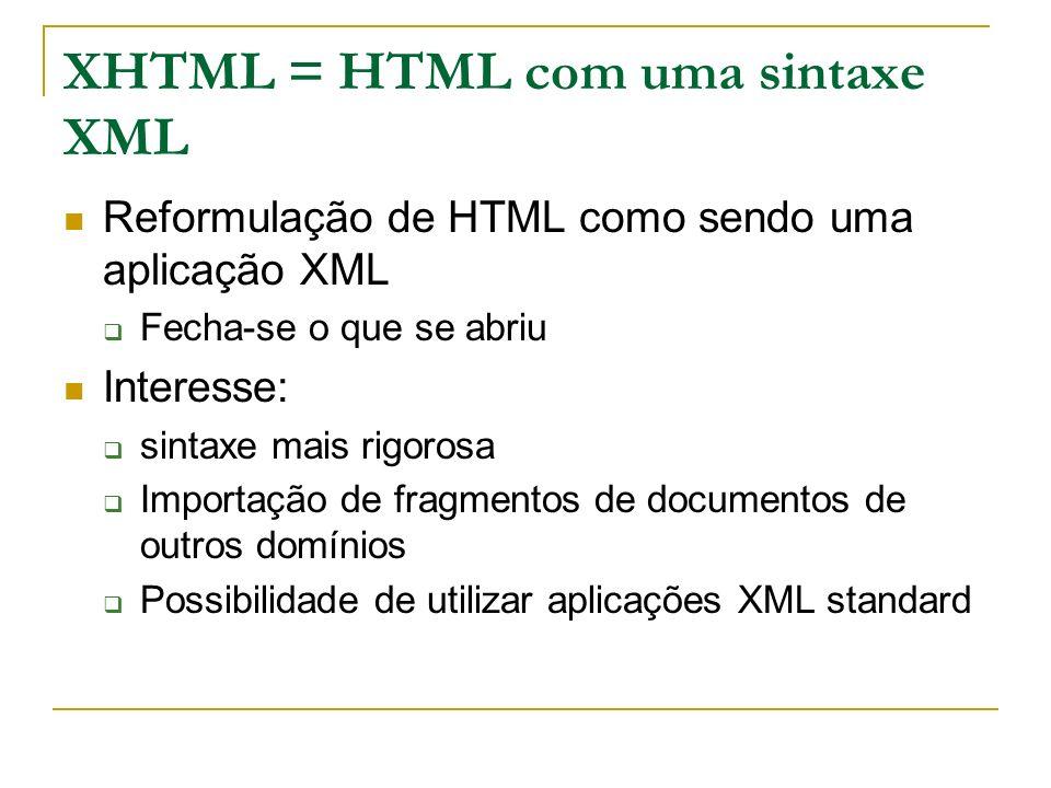 XHTML = HTML com uma sintaxe XML