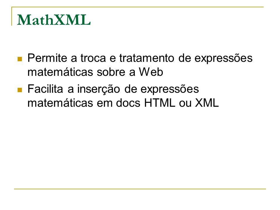 MathXMLPermite a troca e tratamento de expressões matemáticas sobre a Web.