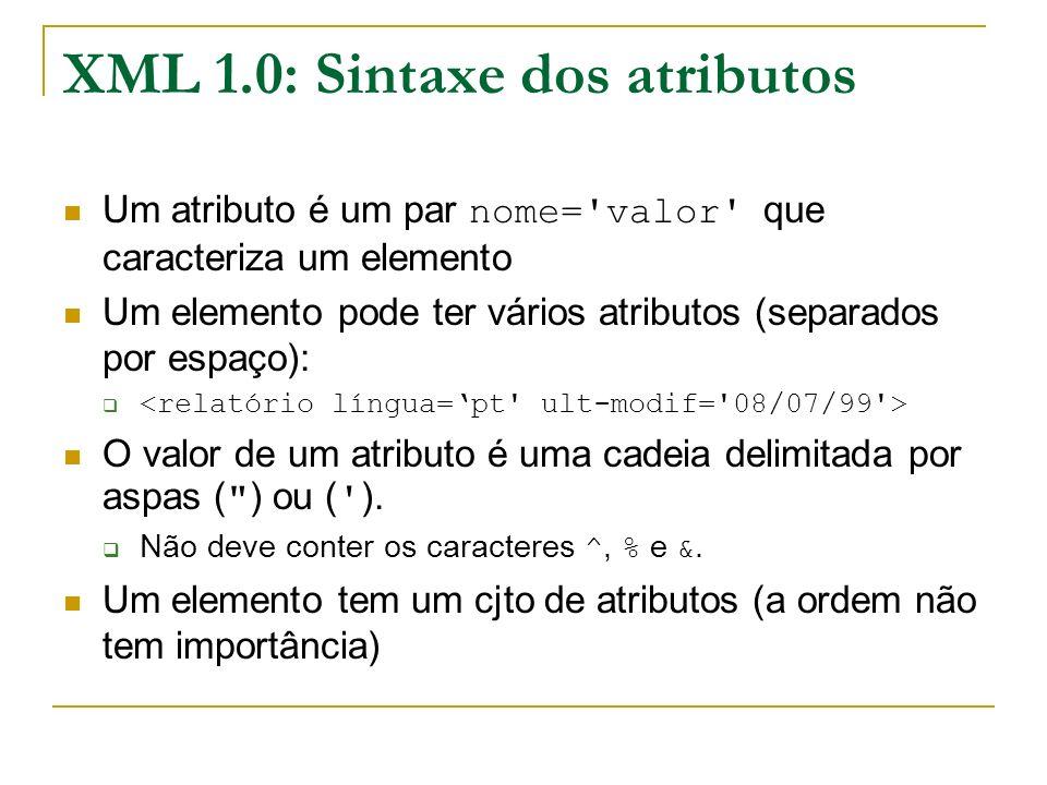 XML 1.0: Sintaxe dos atributos