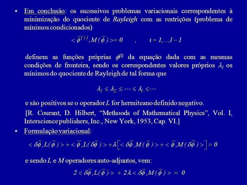 Em conclusão: os sucessivos problemas variacionais correspondentes à minimização do quociente de Rayleigh com as restrições (problema de mínimos condicionados)