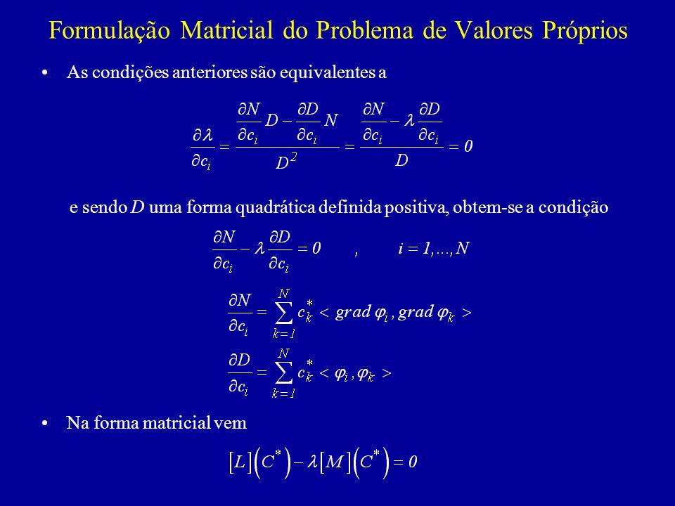 Formulação Matricial do Problema de Valores Próprios