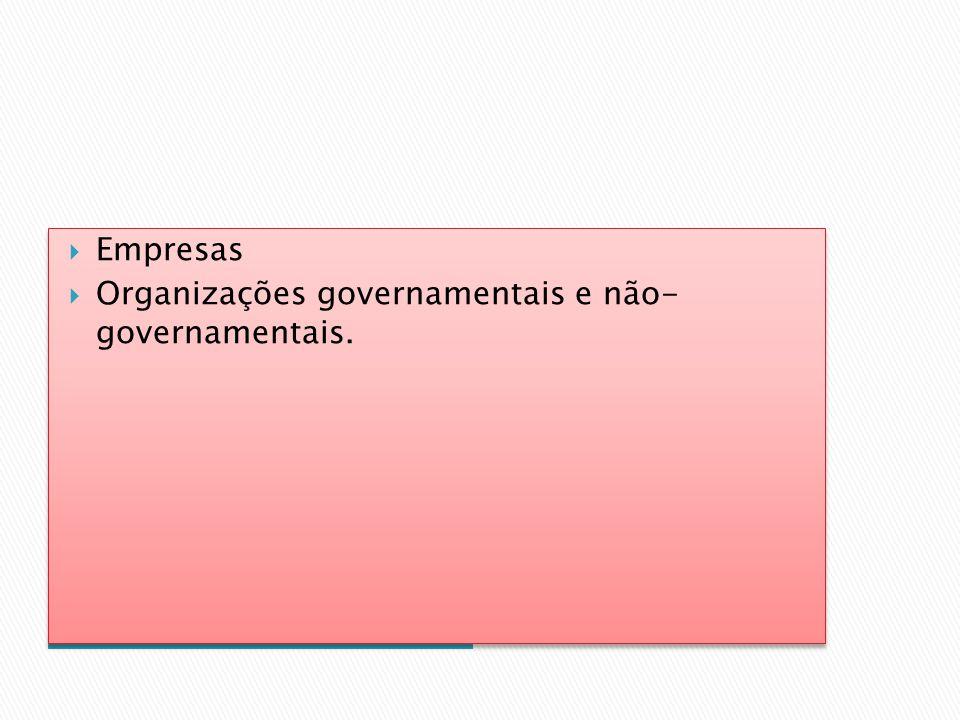 Empresas Organizações governamentais e não- governamentais. Instituições de intervenção