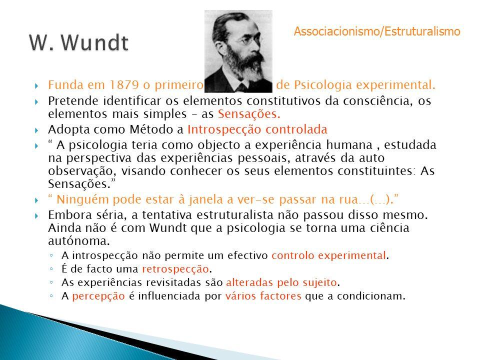 W. Wundt Associacionismo/Estruturalismo