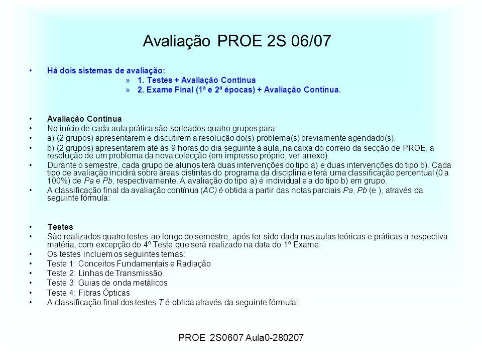 Avaliação PROE 2S 06/07 PROE 2S0607 Aula0-280207