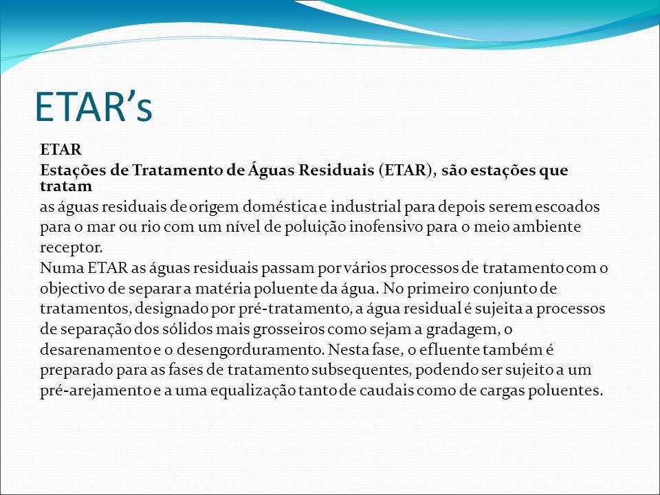ETAR's ETAR. Estações de Tratamento de Águas Residuais (ETAR), são estações que tratam.