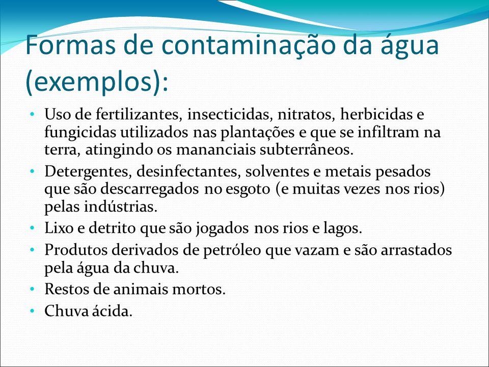 Formas de contaminação da água (exemplos):