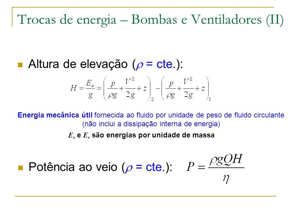 Trocas de energia – Bombas e Ventiladores (II)