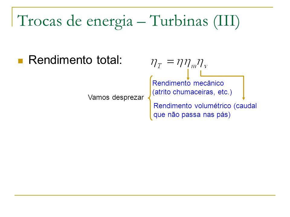 Trocas de energia – Turbinas (III)