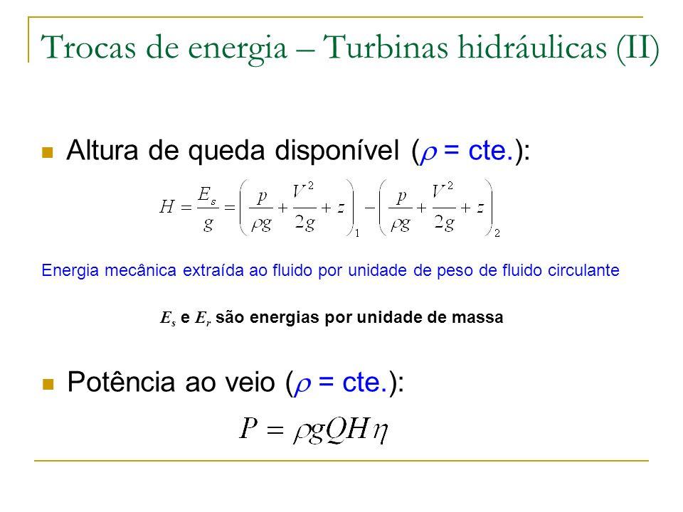 Trocas de energia – Turbinas hidráulicas (II)