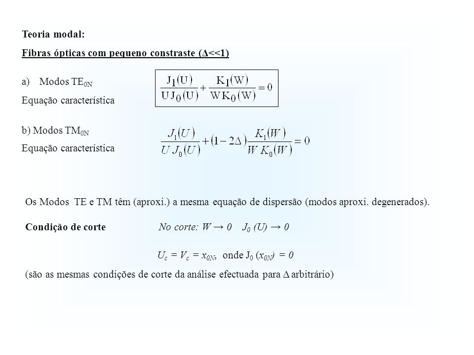 Teoria modal:Fibras ópticas com pequeno constraste (Δ<<1) Modos TE0N. Equação característica. b) Modos TM0N.