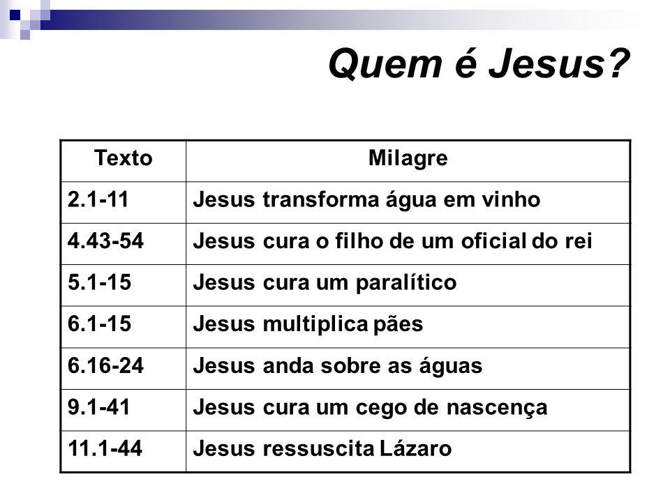 Quem é Jesus Texto Milagre 2.1-11 Jesus transforma água em vinho