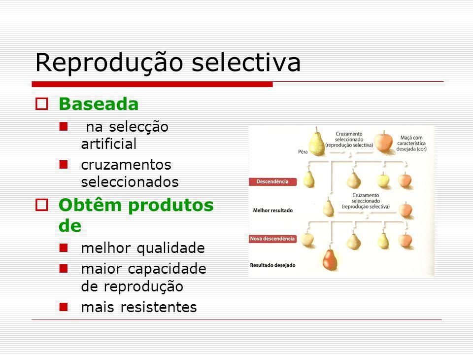 Reprodução selectiva Baseada Obtêm produtos de na selecção artificial