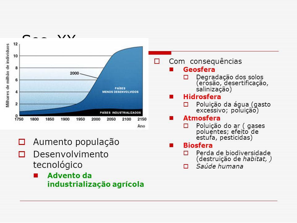 Sec. XX Aumento população Desenvolvimento tecnológico