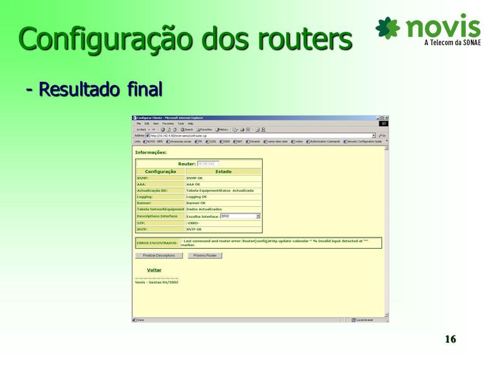 Configuração dos routers