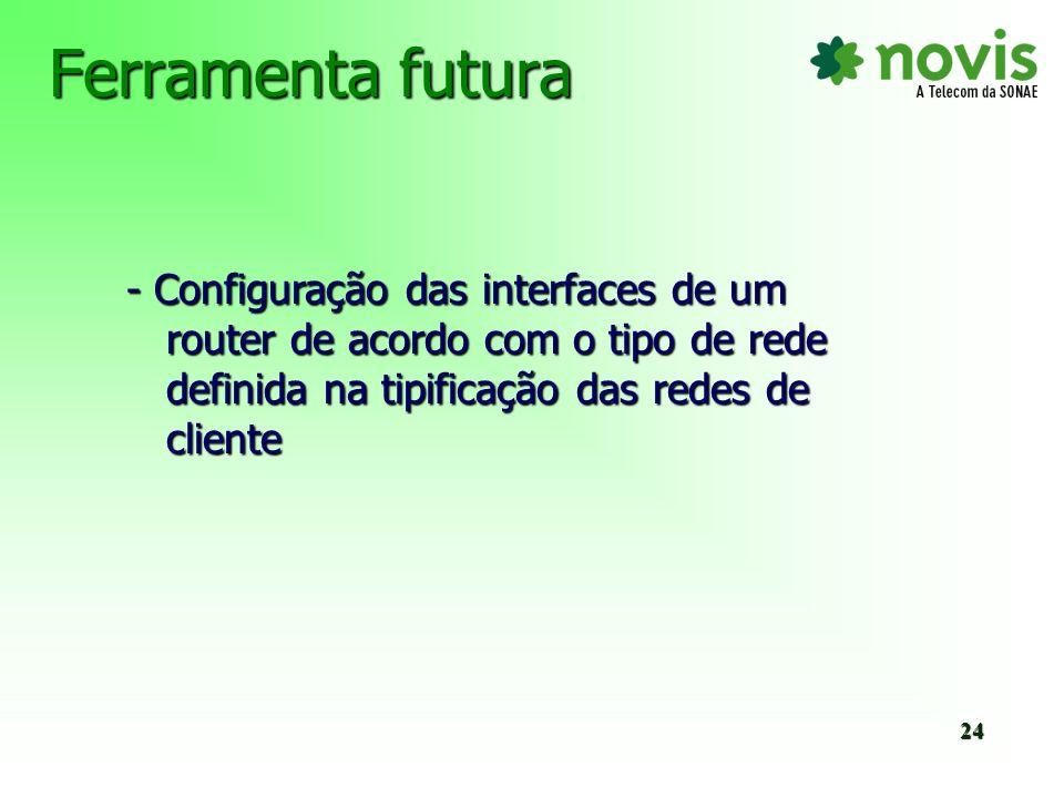 Ferramenta futura - Configuração das interfaces de um router de acordo com o tipo de rede definida na tipificação das redes de cliente.