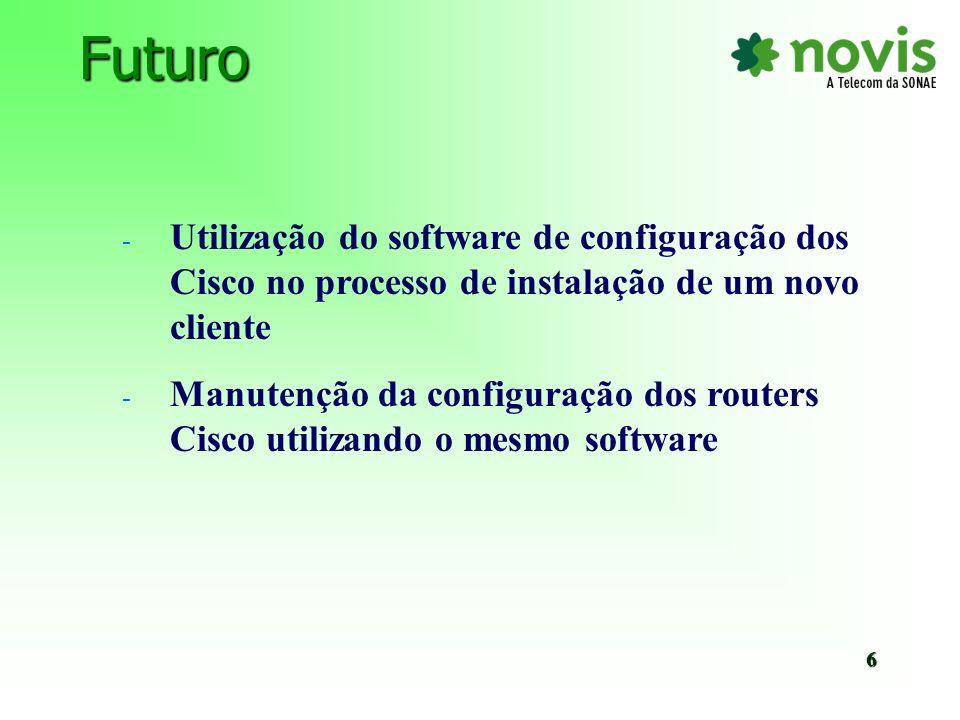 FuturoUtilização do software de configuração dos Cisco no processo de instalação de um novo cliente.