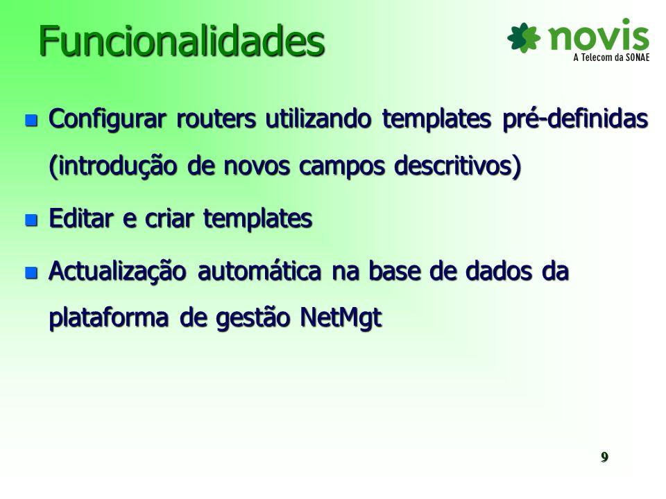 FuncionalidadesConfigurar routers utilizando templates pré-definidas (introdução de novos campos descritivos)