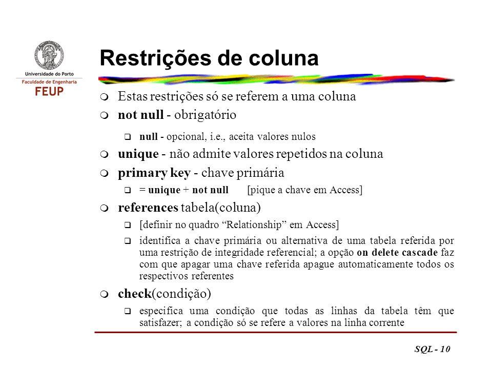 Restrições de coluna Estas restrições só se referem a uma coluna