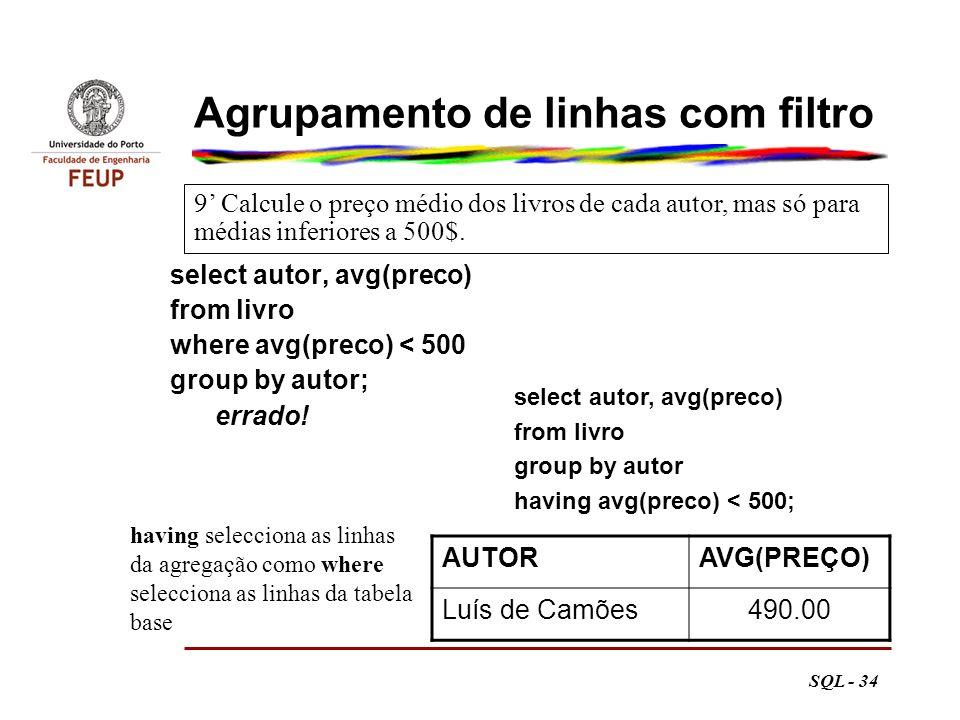 Agrupamento de linhas com filtro