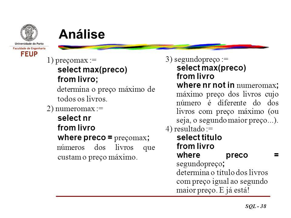 Análise 1) preçomax := select max(preco) from livro;