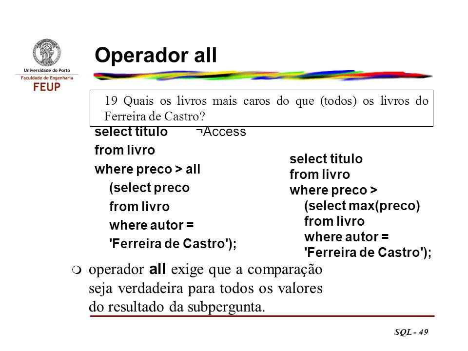 Operador all 19 Quais os livros mais caros do que (todos) os livros do Ferreira de Castro select titulo ¬Access.