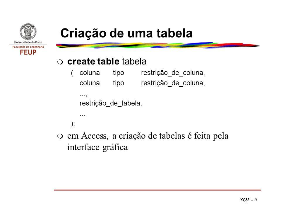 Criação de uma tabela create table tabela