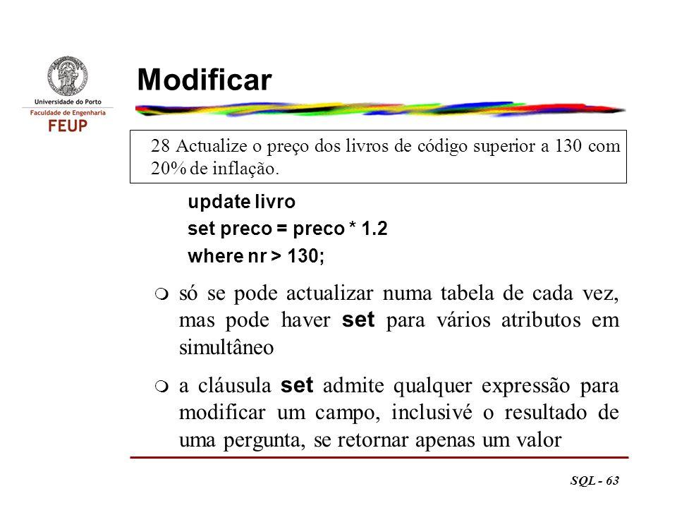 Modificar 28 Actualize o preço dos livros de código superior a 130 com 20% de inflação. update livro.