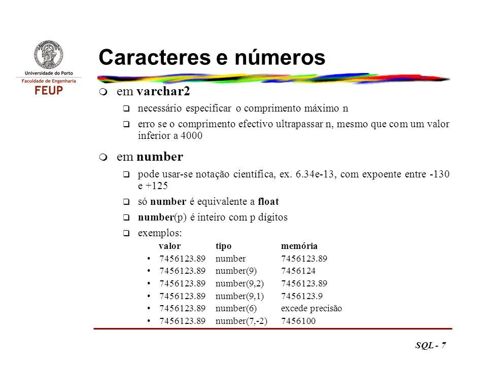 Caracteres e números em varchar2 em number