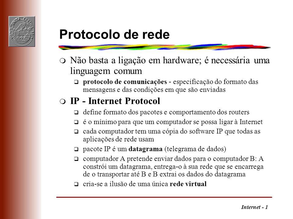 Protocolo de redeNão basta a ligação em hardware; é necessária uma linguagem comum.