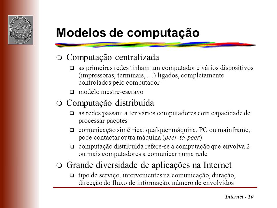 Modelos de computação Computação centralizada Computação distribuída