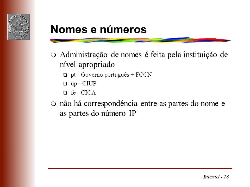 Nomes e números Administração de nomes é feita pela instituição de nível apropriado. pt - Governo português + FCCN.