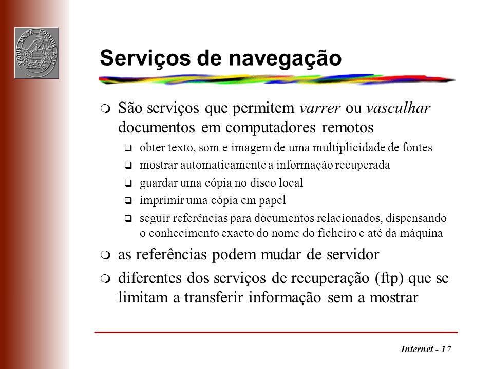 Serviços de navegação São serviços que permitem varrer ou vasculhar documentos em computadores remotos.