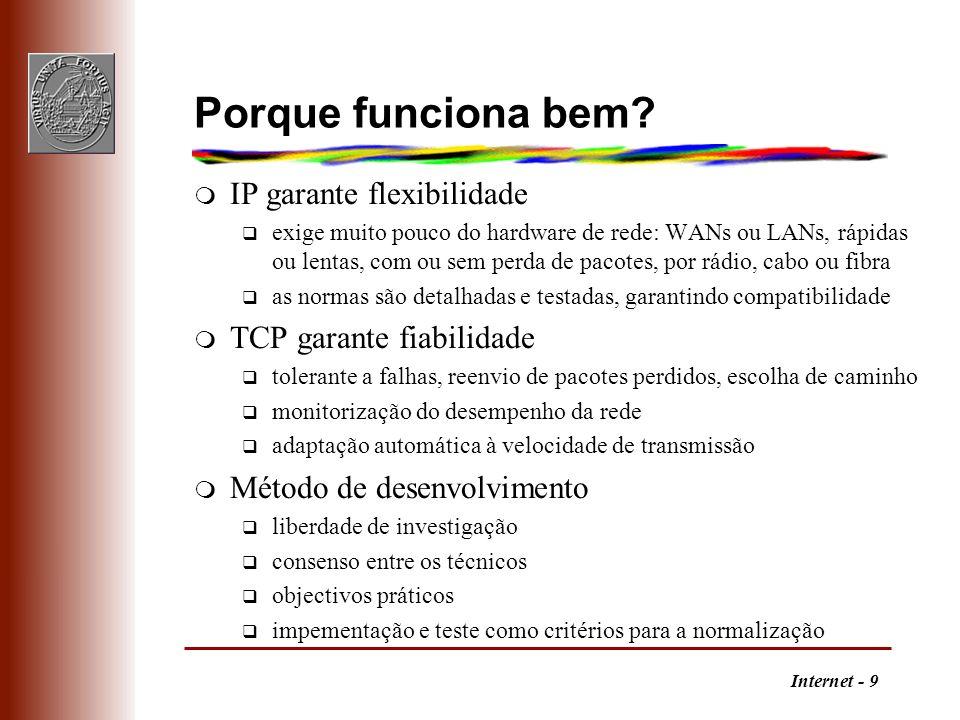 Porque funciona bem IP garante flexibilidade TCP garante fiabilidade