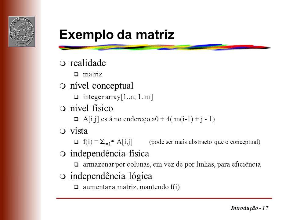 Exemplo da matriz realidade nível conceptual nível físico vista