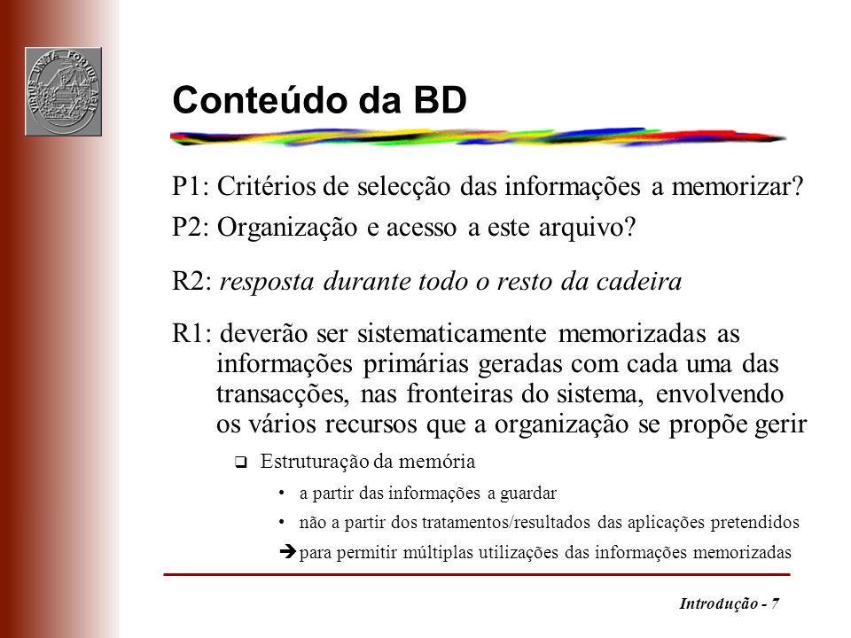 Conteúdo da BD P1: Critérios de selecção das informações a memorizar
