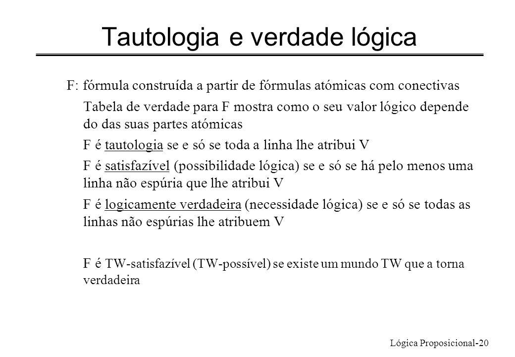 Tautologia e verdade lógica