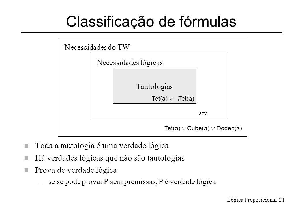 Classificação de fórmulas
