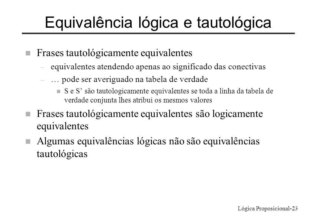 Equivalência lógica e tautológica