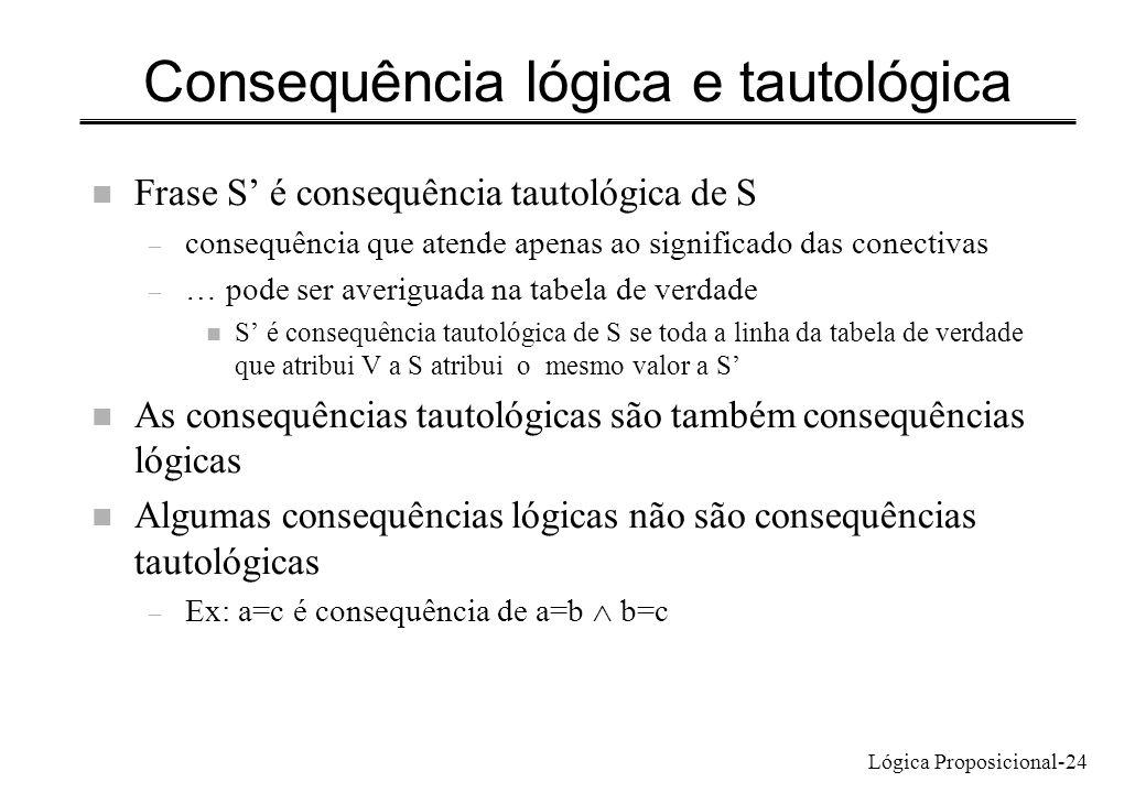 Consequência lógica e tautológica