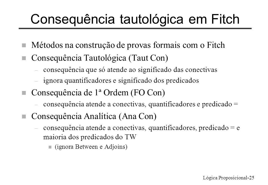 Consequência tautológica em Fitch