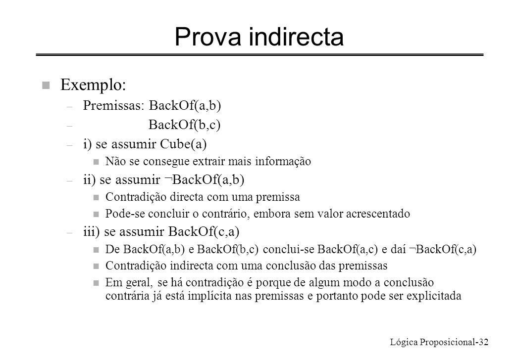 Prova indirecta Exemplo: Premissas: BackOf(a,b) BackOf(b,c)