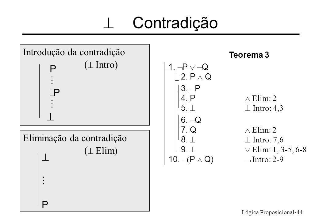 ^ Contradição ^ ^ Introdução da contradição (^ Intro) P M ØP