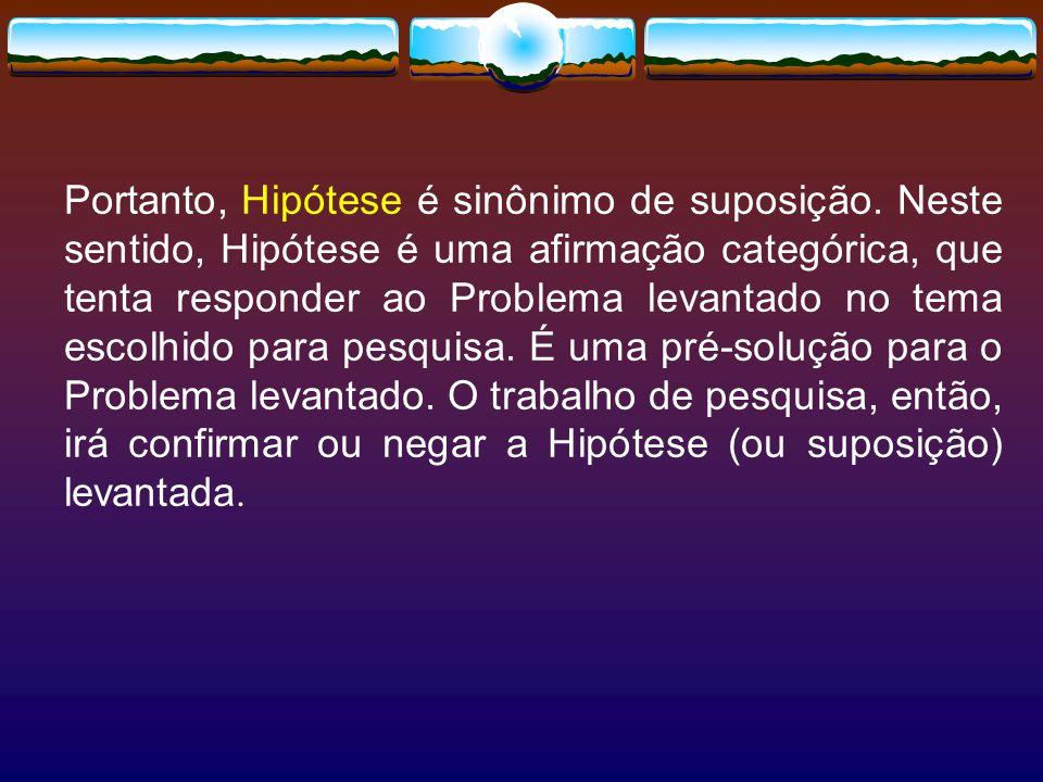 Portanto, Hipótese é sinônimo de suposição