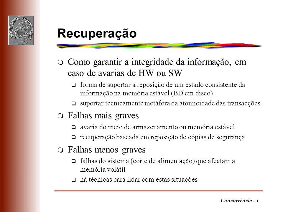 Recuperação Como garantir a integridade da informação, em caso de avarias de HW ou SW.