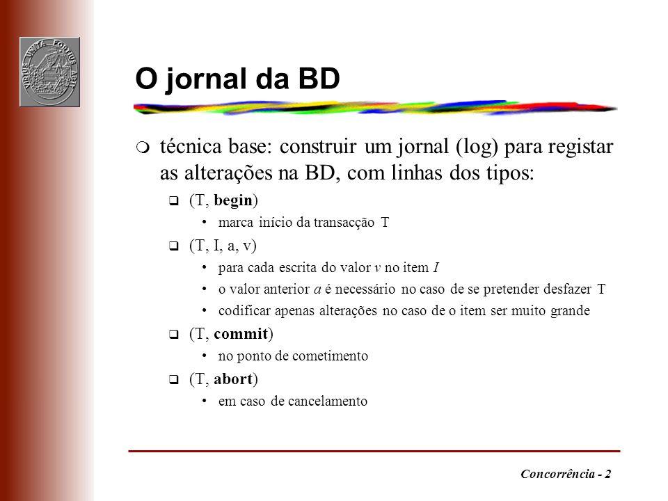 O jornal da BD técnica base: construir um jornal (log) para registar as alterações na BD, com linhas dos tipos: