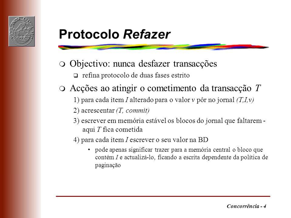 Protocolo Refazer Objectivo: nunca desfazer transacções