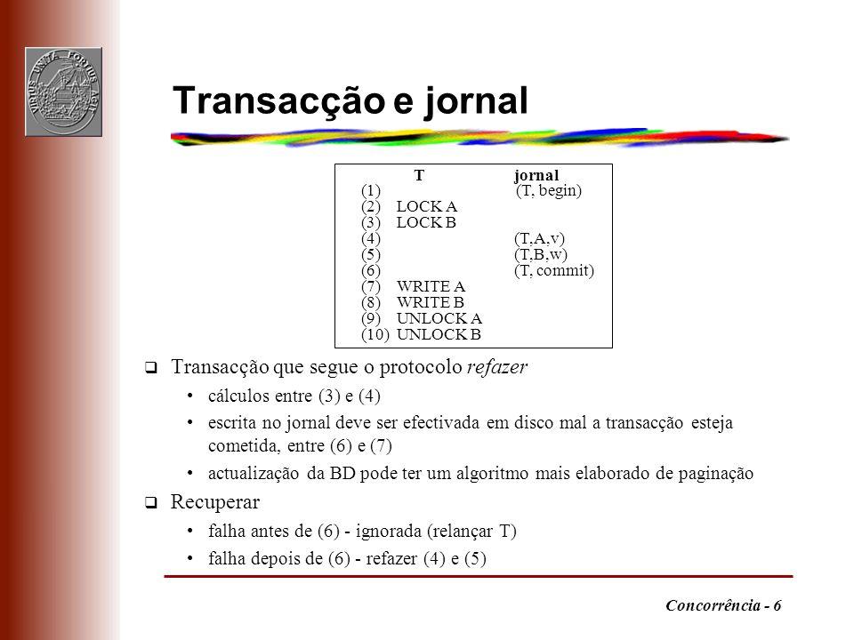 Transacção e jornal Transacção que segue o protocolo refazer Recuperar