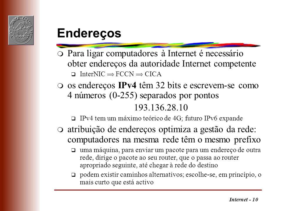 Endereços Para ligar computadores à Internet é necessário obter endereços da autoridade Internet competente.