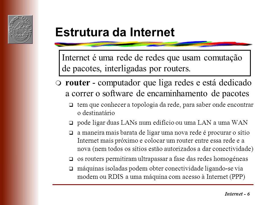 Estrutura da Internet Internet é uma rede de redes que usam comutação de pacotes, interligadas por routers.