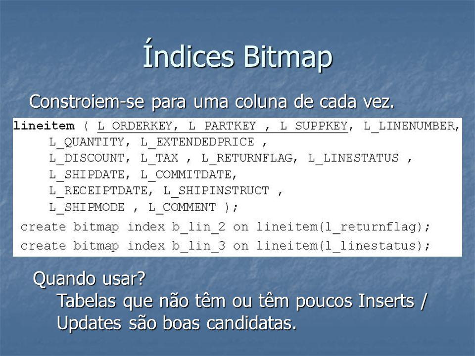 Índices Bitmap Constroiem-se para uma coluna de cada vez. Quando usar